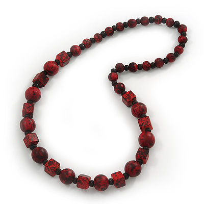 Long Red/Black Wooden 'Cube & Ball' Necklace - 74cm Length
