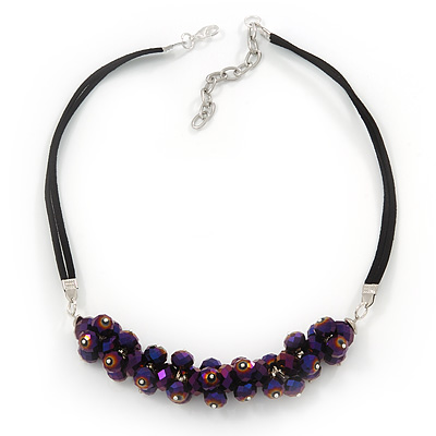Chameleon Purple Cluster Glass Bead Black Suede Necklace In Silver Plating - 40cm Length/ 7cm Extender
