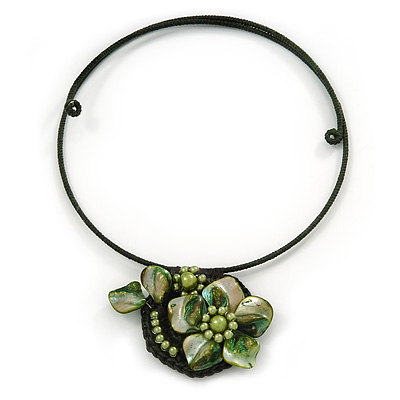 Dark Green/Olive Green Shell Flower Flex Wire Choker Necklace - Adjustable