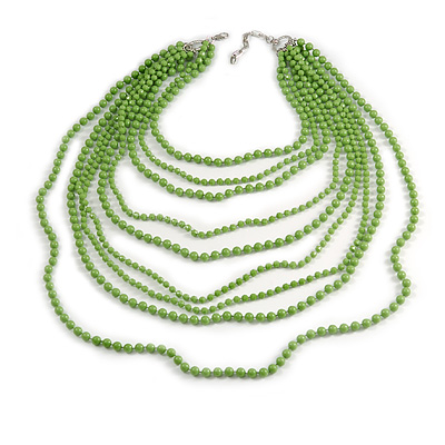 Long Layered Pea Green Acrylic Bead Necklace In Silver Plating - 112cm Length/ 5cm Extension