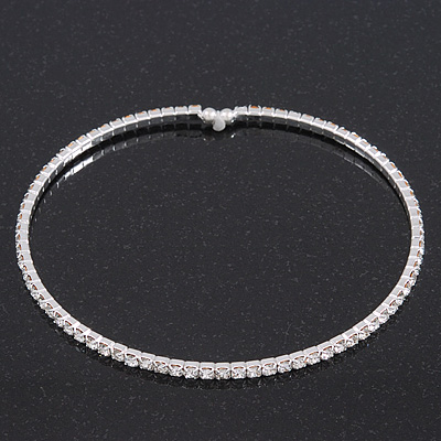 Thin Swarovski Crystal Flex Choker Necklace In Rhodium Plating - Adjustable - main view