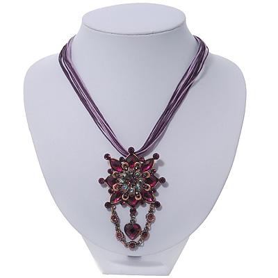 Violet/Purple Statement Diamante Charm Pendant Cord Necklace In Bronze Metal - 38cm Length/ 7cm Extension