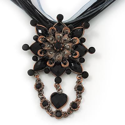 Black/Grey Statement Diamante Charm Pendant Cord Necklace In Bronze Metal - 38cm Length/ 7cm Extension