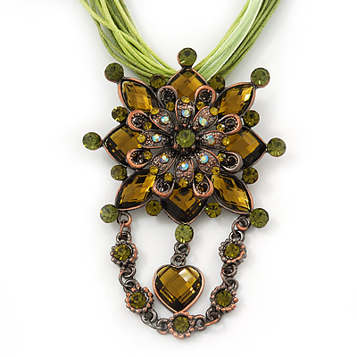 Olive/Light Green Statement Diamante Charm Pendant Cord Necklace In Bronze Metal - 38cm Length/ 7cm Extension