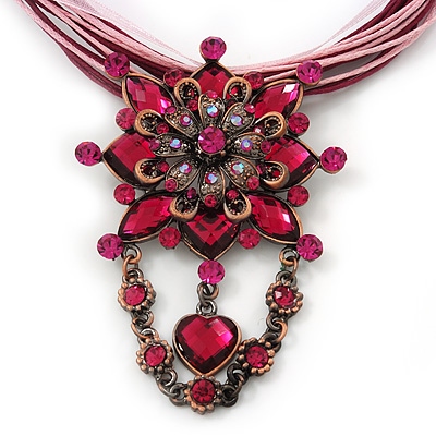 Magenta/Pink Statement Diamante Charm Pendant Cord Necklace In Bronze Metal - 38cm Length/ 7cm Extension