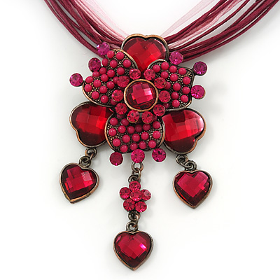 Fuchsia/ Magenta Diamante Vintage Flower Pendant On Cotton Cords Necklace In Bronze Metal - 38cm Length/ 7cm Extension
