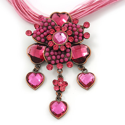 Fuchsia/ Pink Diamante Vintage Flower Pendant On Cotton Cords Necklace In Bronze Metal - 38cm Length/ 7cm Extension