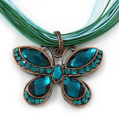 Teal Green Diamante 'Butterfly' Cotton Cord Pendant Necklace In Bronze Metal - 38cm Length/ 8cm Extension