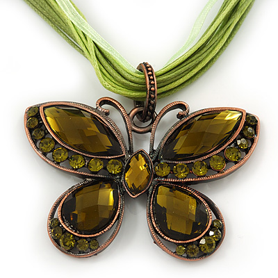Olive/Mint Green Diamante 'Butterfly' Cotton Cord Pendant Necklace In Bronze Metal - 38cm Length/ 8cm Extension