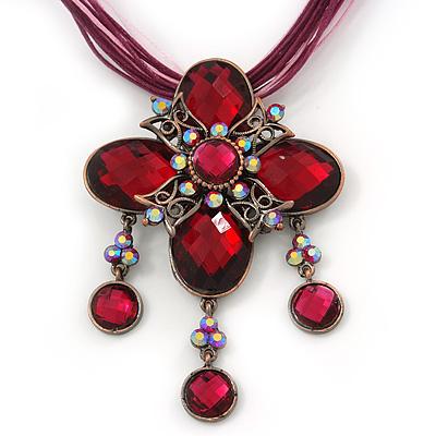 Vintage Magenta Diamante 'Cross' Pendant Necklace On Cotton Cords In Bronze Metal - 38cm Length/ 7cm Extension