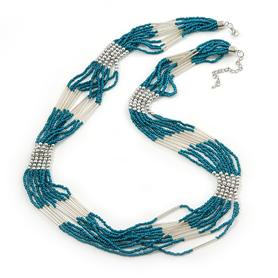 Multistrand Malachite Coloured & Silver Bead Necklace In Silver Tone Finish - 76cm Length/ 6cm Extension