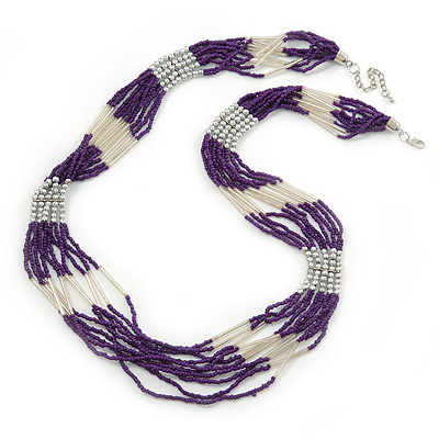 Multistrand Purple & Silver Bead Necklace In Silver Tone Finish - 76cm Length/ 6cm Extension