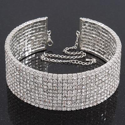 10-Row Swarovski Crystal Choker Necklace (Silver Clear) - 29cm Length  16cm  Extension 880bdb37f1