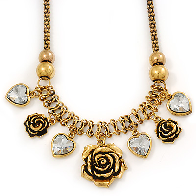 Vintage 'Rose&Heart' Mesh Charm Necklace In Burn Gold Metal - 40cm Length/ 6cm Extension - main view