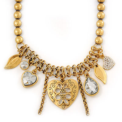 Vintage 'Heart' Charm Necklace In Gold Plating - 40cm Length/ 6cm Extension