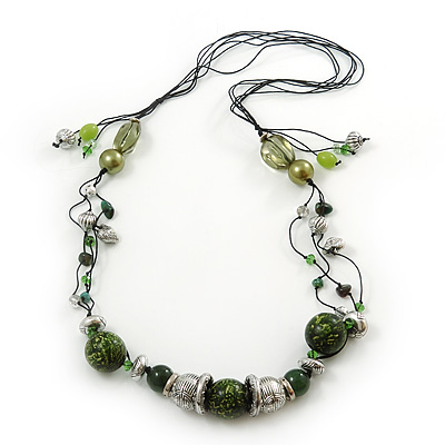 Long Green Glass and Wooden Bead Necklace on Cotton Cord - Expandable 112cm - 147cm Length - main view