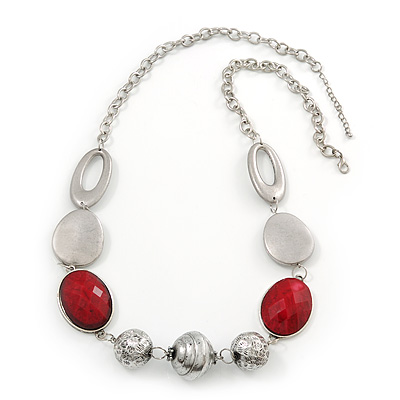 Burgundy Red Resin and Silver Acrylic Bead Statement Necklace In Silver Tone - 84cm Length (6cm extension) - main view