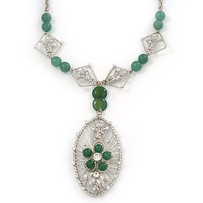 Oval Wire Pendant With Angel & Green Jade Flower Necklace In Rhodium Plating - 48cm Length/ 6cm Extension