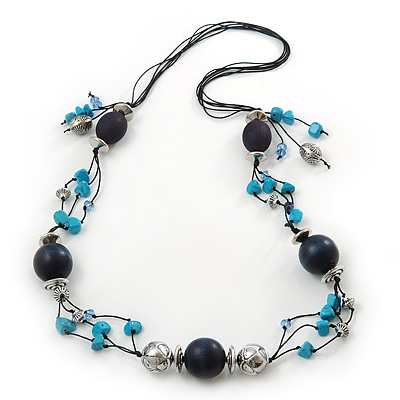 Long Turquoise Stone and Dark Blue Wooden Bead Necklace on Cotton Cord - Expandable 112cm - 147cm Length - main view