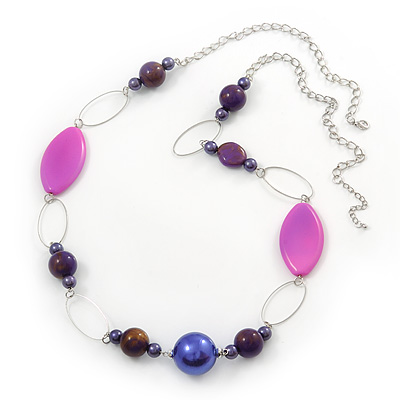 Long Purple Resin and Acrylic Nugget Necklace in Silver Tone- 112cm Length (5cm extension) - main view