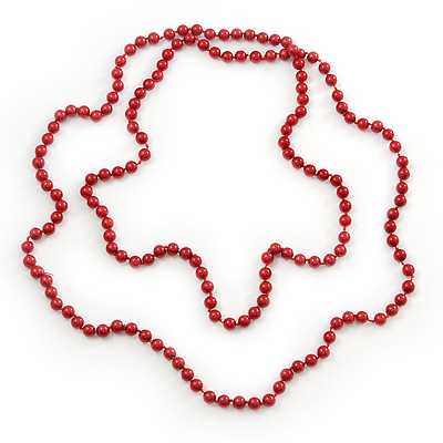 Long Red Glass Bead Necklace - 140cm Length/ 8mm - main view