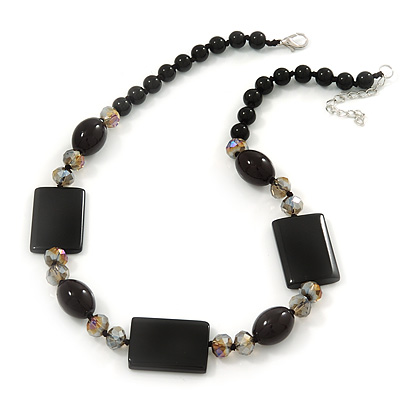 Black Ceramic & Grey Crystal Bead Necklace In Rhodium Plating - 42cm Length/ 5cm Extension