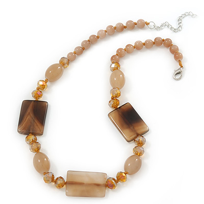 Beige Ceramic & Ligth Amber Coloured Crystal Bead Necklace In Rhodium Plating - 42cm Length/ 5cm Extension - main view