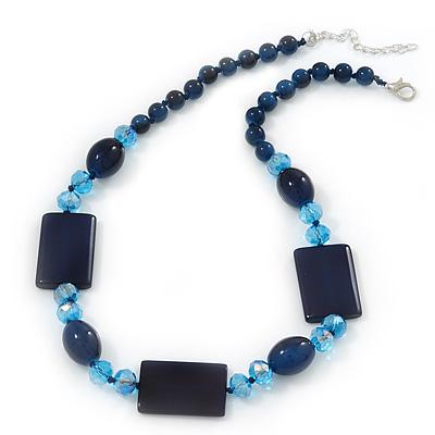 Dark Blue Ceramic & Ligth Blue Crystal Bead Necklace In Rhodium Plating - 42cm Length/ 5cm Extension - main view