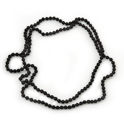 Long Black Glass Bead Necklace - 140cm Length/ 8mm - main view