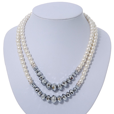 Two Row White Glass Pearl & Grey Crystal Beads Necklace - 46cm L /6cm Ext - main view