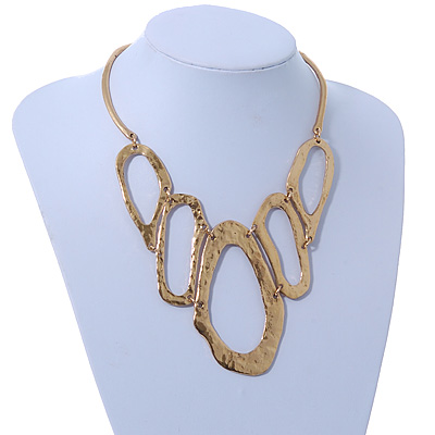 Gold Plated Hammered 'Aiko' Bib Choker Necklace - 36cm Length/ 6cm Extension