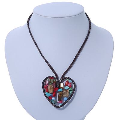 Open Heart With Multicoloured Semiprecious Stones Pendant On Brown Cotton Cord Necklace - 40cm Length - main view