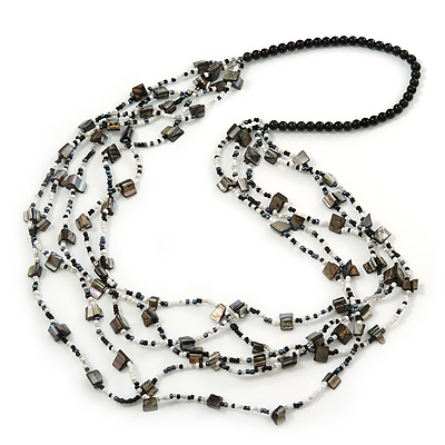 Long Multistrand Black/ White Shell/ Glass Bead Necklace - 84cm Length - main view