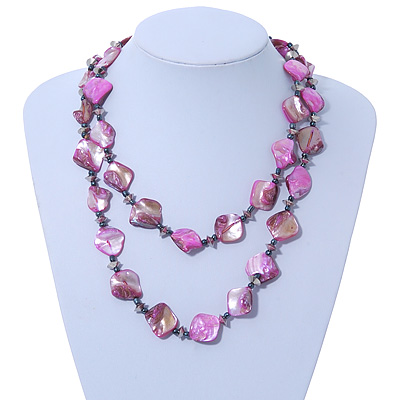 Long Magenta Shell & Metal Bead Necklace - 110cm Length