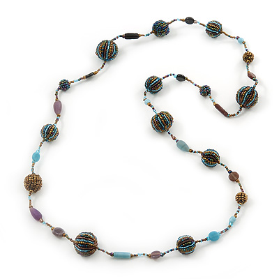 Long Glass Bead Ball Necklace (Light Blue, Gold, Brown) - 100cm Length
