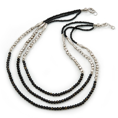 3 Strand Round Black Ceramic & Silver Tone Square Bead Necklace - 74cm Length