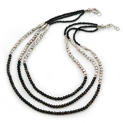 3 Strand Round Black Ceramic & Silver Tone Square Bead Necklace - 74cm Length - main view