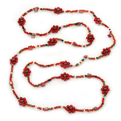 Long Red/ Amber Coloured Glass Bead Floral Necklace - 130cm Length