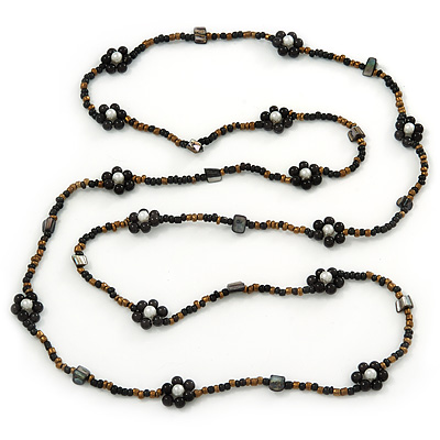 Long Gold/Black Glass Bead Floral Necklace - 130cm Length