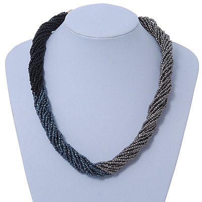 Multistrand Twisted Black/ Metallic Silver/ Metallic Beige Glass  Bead Choker Neklace In Silver Tone - 42cm Length/ 5cm Extender