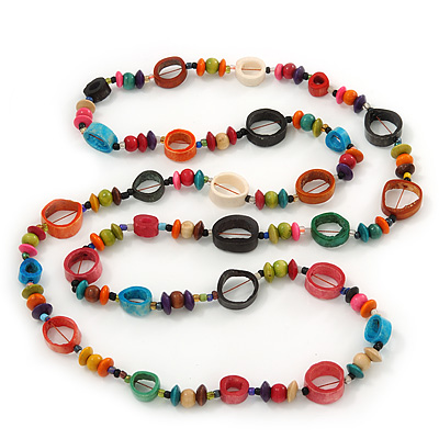 Long Multicoloured Bone & Wood Beaded Necklace - 120cm Length - main view