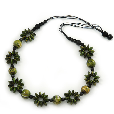 Long Green/ Gold Wood Floral Necklace On Black Cotton Cord - 80cm Length