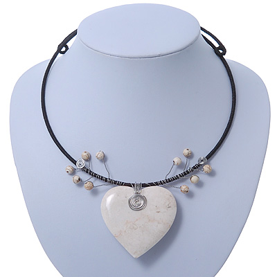 Antique White Ceramic 'Heart' Pendant Wired Choker Necklace - Adjustable