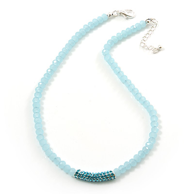 Light Blue Mountain Crystal and Swarovski Elements Choker Necklace - 36cm Length (5cm extension) - main view