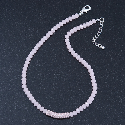 Light Pink Mountain Crystal and Swarovski Elements Choker Necklace - 36cm Length (5cm extension)