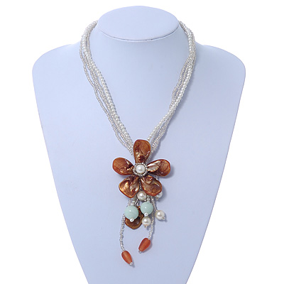 Chunky Multistrand Shell Floral Tassel Necklace (Light Cream, Light Brown, White) - 46cm Length/ 4cm Extension - main view