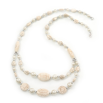 Long Antique White Ceramic, Simulated Pearl Glass, Metal Bead Necklace In Rhodium Plating - 72cm Length - main view