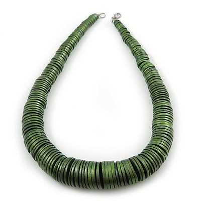 Chunky Glitter Fern Green Wood Button Bead Necklace In Silver Tone - 50cm Length
