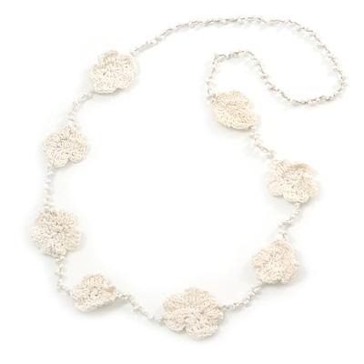 Long White Floral Crochet, Glass Bead Necklace - 96cm Length
