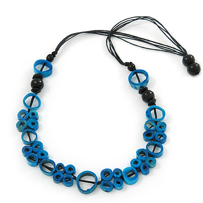 Unique Turquoise Blue Coloured Bone Bead Black Cotton Cord Necklace - 66cm Length